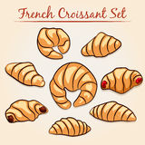 French Croissant set Royalty Free Stock Photos