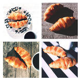 French croissants collage. Collage of 4 pictures of baked French croissants on wooden table, white serviette, striped serviette and linen napkin Royalty Free Stock Photo