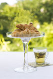 French Croissants on glass dish with tea Stock Images