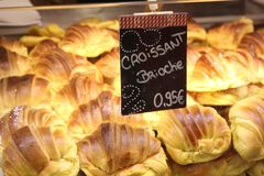 French Croissants in a Portugese bakery Royalty Free Stock Photos