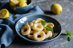 French Cruller Donuts with lemon glaze stock images