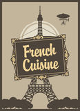 French cuisine. Banner for a restaurant with French cuisine with Eiffel Tower Stock Image