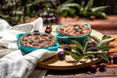 French cuisine. Clafoutis. Homemade cake. French cherry pie. Royalty Free Stock Photos