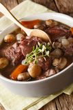 French cuisine: Coq au vin in wine close-up in a bowl. vert Royalty Free Stock Image