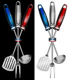 French cuisine - Cuisine française. Concept of French cuisine with kitchen tools and national flag Royalty Free Stock Image