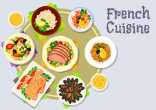 French cuisine dinner dishes icon for menu design Royalty Free Stock Image