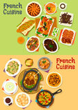 French cuisine dinner icon set for menu design Royalty Free Stock Photo