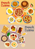 French cuisine dishes for lunch menu icon set Royalty Free Stock Photo