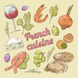 French Cuisine doodle with Wine and Cheese. Hand drawn Royalty Free Stock Photo