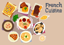 French cuisine festive dinner dishes icon design. French cuisine festive dinner dishes icon of potato cheese casserole, foie gras with figs, seafood soup Royalty Free Stock Photography