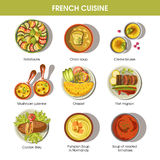 French cuisine food dishes for menu vector templates Royalty Free Stock Photos