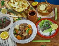 French cuisine. Traditional assorted French  dishes Top view.European food Stock Image