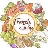French Cuisine Hand Drawn Background with Cheese, Wine and Grape. Food and Drink Menu Stock Image