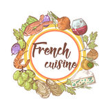 French Cuisine Hand Drawn Background with Cheese, Wine and Seafood. Food and Drink Menu Stock Photography