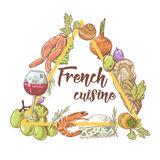 French Cuisine Hand Drawn Background with Cheese, Wine and Seafood. Food and Drink Stock Image