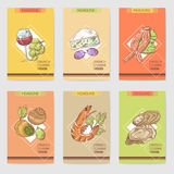 French Cuisine Hand Drawn Cards Brochure Menu with Cheese, Seafood and Glass Wine. Food and Drink Products. Vector illustration stock illustration