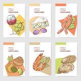 French Cuisine Hand Drawn Cards Brochure Menu with Cheese, Seafood and Wine. Food and Drink Products. Vector illustration royalty free illustration