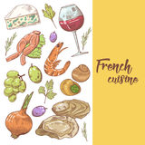 French Cuisine Hand Drawn Design with Cheese, Wine and Grape. Food and Drink Stock Image