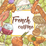 French Cuisine Hand Drawn Design with Cheese, Wine and Seafood. Food and Drink Royalty Free Stock Photos