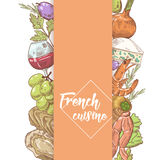 French Cuisine Hand Drawn Design with Cheese, Wine and Seafood. Food and Drink Royalty Free Stock Photography