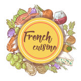 French Cuisine Hand Drawn Menu Design with Cheese, Wine and Seafood. Food and Drink Stock Images