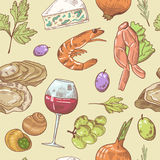 French Cuisine Hand Drawn Seamless Pattern with Wine, Seafood and Cheese. Food and Drink Royalty Free Stock Photography
