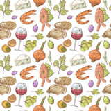 French Cuisine Hand Drawn Seamless Pattern with Wine, Seafood and Cheese. Food and Drink Royalty Free Stock Photos