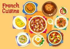 French cuisine healthy food icon for lunch design Stock Images