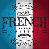 French Cuisine. Label on Grunge Flag Stock Images
