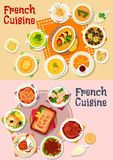 French cuisine national dish icon for menu design Stock Photos