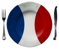 French Cuisine - Plate and Cutlery Royalty Free Stock Photos