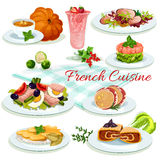 French cuisine popular dishes poster design Stock Photo