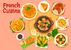 French cuisine popular national dishes icon design Stock Photos