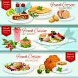 French cuisine restaurant dinner dishes banner set Stock Image
