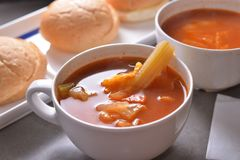 Borsch. French cuisine Russian borsch soup royalty free stock photo