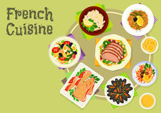 French cuisine snacks and salads icon design Stock Photo