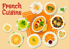 French cuisine soups and snack dishes icon Royalty Free Stock Photos