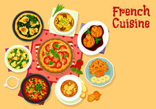 French cuisine tasty dinner icon for food design. French cuisine tasty dinner icon of chicken tomato pie with cheese, vegetable stew ratatouille, banana toast Stock Photo