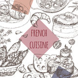 French cuisine template. Includes onion soup, chicken, cheese, sausages, escargots. French cuisine template. Includes hand drawn sketch of onion soup, coq au vin Stock Images
