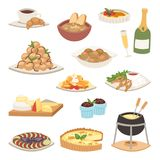 French cuisine traditional food delicious meal healthy dinner lunch continental Frenchman gourmet plate dish vector Royalty Free Stock Images
