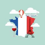 french culture set icons Royalty Free Stock Image