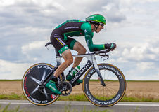 The French Cyclist Rolland Pierre. Beaurouvre, France, July 21st 2012:The French Cyclist Rolland Pierre from Team Europcar pedaling during the 19th stage of Le Royalty Free Stock Image