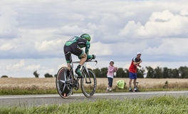 The French Cyclist Rolland Pierre. Beaurouvre, France, July 21st 2012:The French Cyclist Rolland Pierre from Team Europcar pedaling during the 19th stage of Le Royalty Free Stock Photo