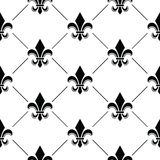 French Damask background - Fleur de lis black pattern Royalty Free Stock Photo
