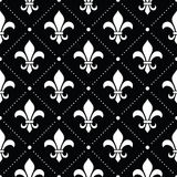 French Damask background - Fleur de lis white pattern on black Stock Photo
