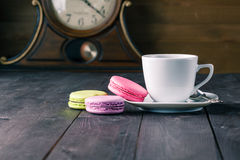 French delicious dessert macaroons on table Royalty Free Stock Image