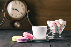 French delicious dessert macaroons on table Royalty Free Stock Images