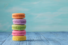 French delicious dessert macaroons on table Stock Image