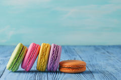 French delicious dessert macaroons on table Royalty Free Stock Photography