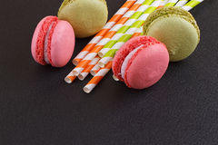 French delicious dessert macaroons on table Stock Photos